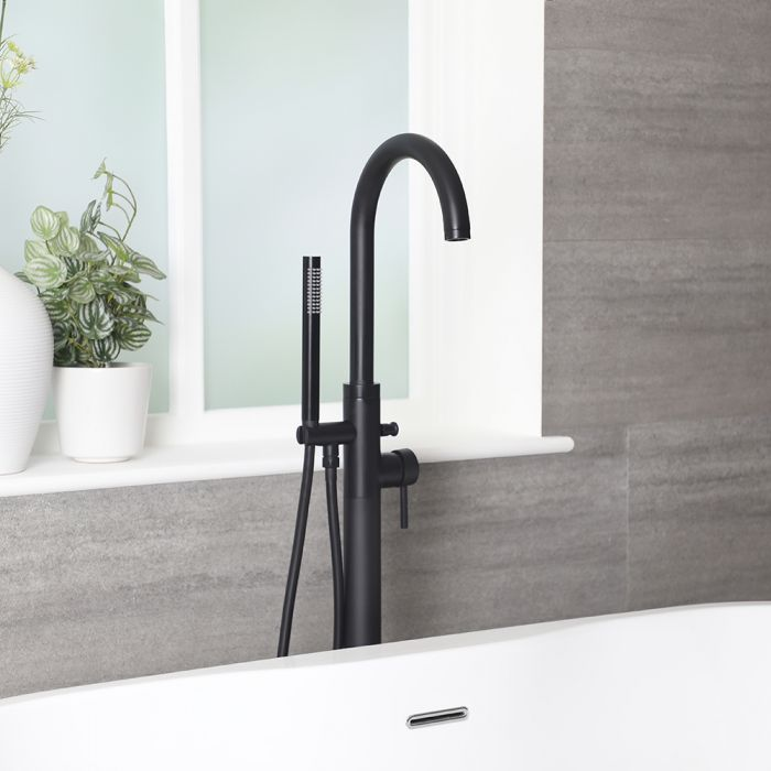 Milano Nero - Modern Freestanding Bath Shower Mixer Tap with Hand Shower - Black
