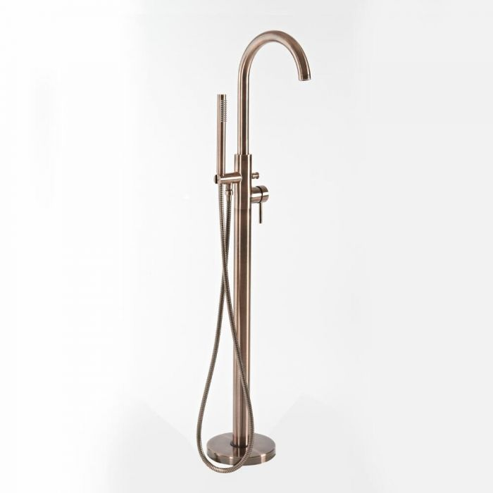 Milano Amara - Modern Freestanding Bath Shower Mixer Tap with Hand Shower - Brushed Copper