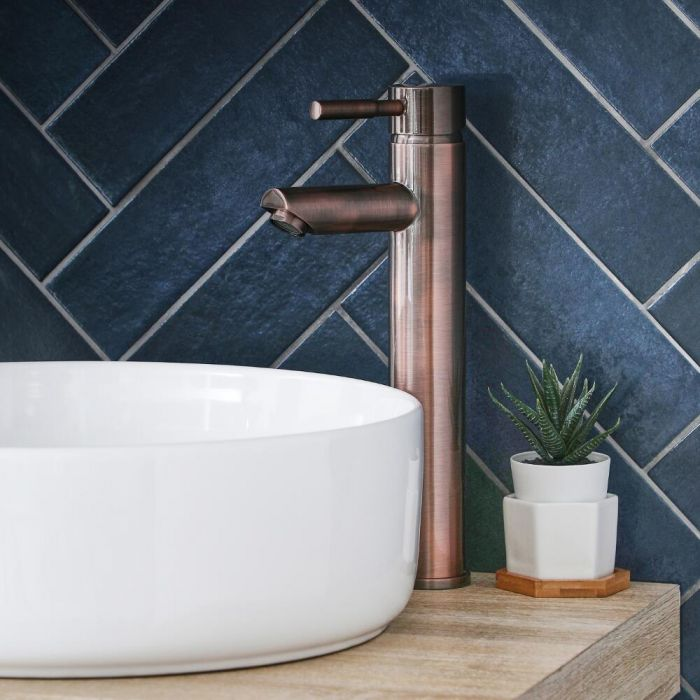 Milano Amara - Modern High Rise Mono Basin Mixer Tap - Brushed Copper