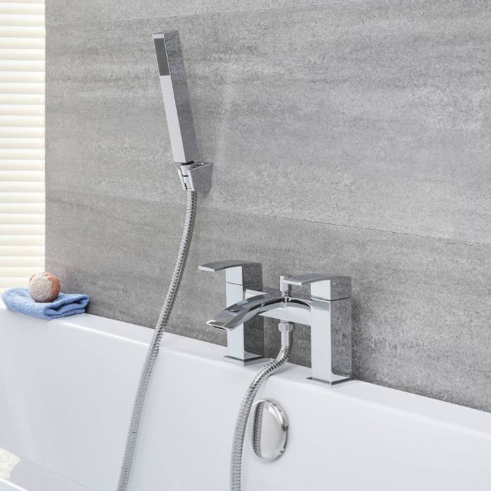 Milano Wick - Modern Deck Mounted Bath Shower Mixer Tap with Hand Shower - Chrome
