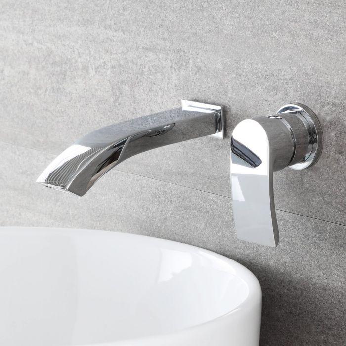 Milano Razor - Modern Wall Mounted Basin Mixer Tap - Chrome