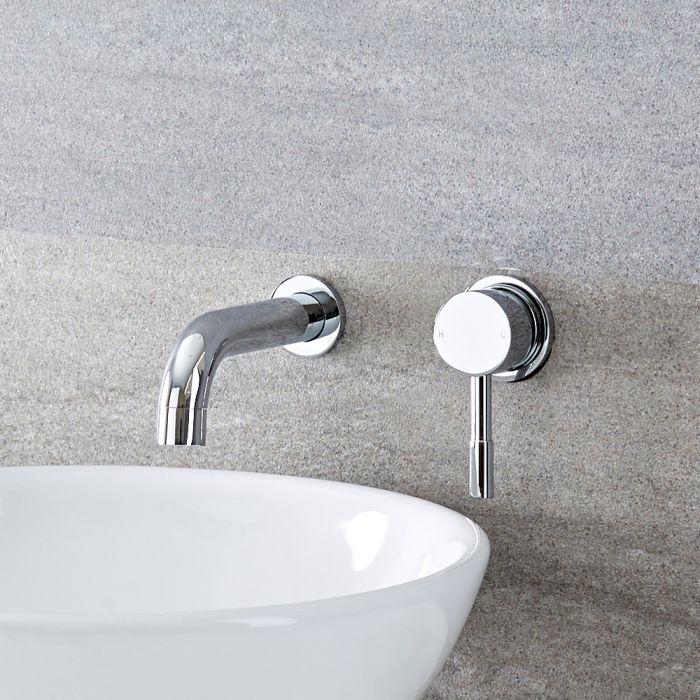 Milano Mirage - Modern Wall Mounted Round Basin Mixer Tap - Chrome