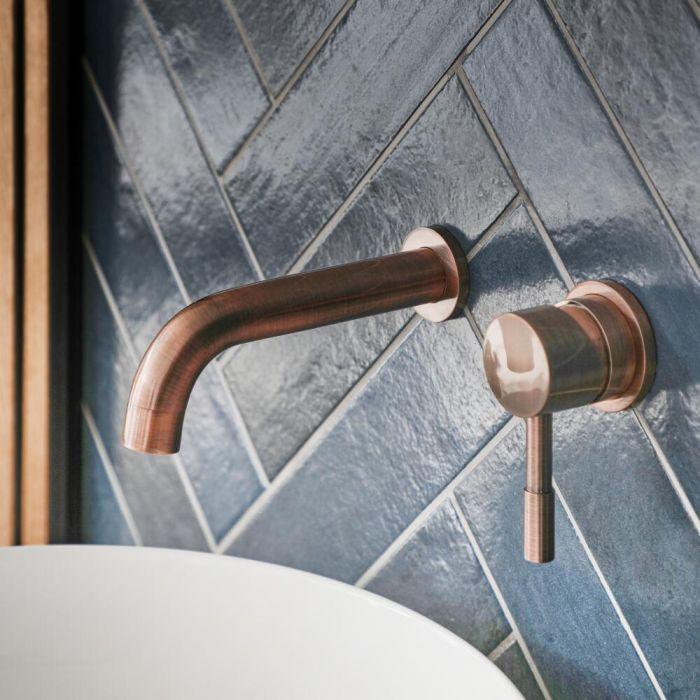 Milano Amara - Modern Wall Mounted Basin Mixer Tap - Brushed Copper