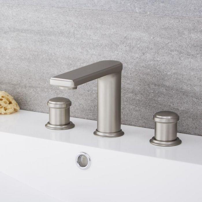 Milano Ashurst - Modern 3 Tap-Hole Basin Mixer Tap - Brushed Nickel
