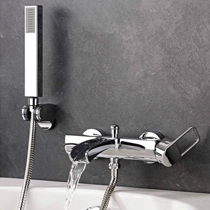 Milano Select - Modern Wall Mounted Bath Shower Mixer Tap - Chrome