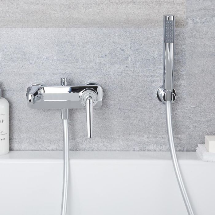 Milano Vora - Chrome Wall Mounted Bath Shower Mixer Tap with Hand Shower (2 Outlet)