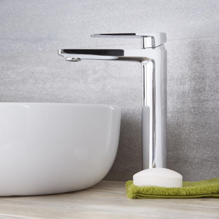 Milano Arcadia - Modern High Rise Mono Basin Mixer Tap - Chrome