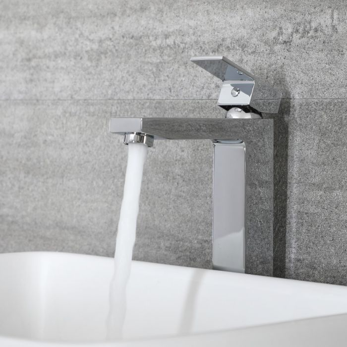 Milano Arvo - Modern Mono High Rise Basin Mixer Tap - Chrome