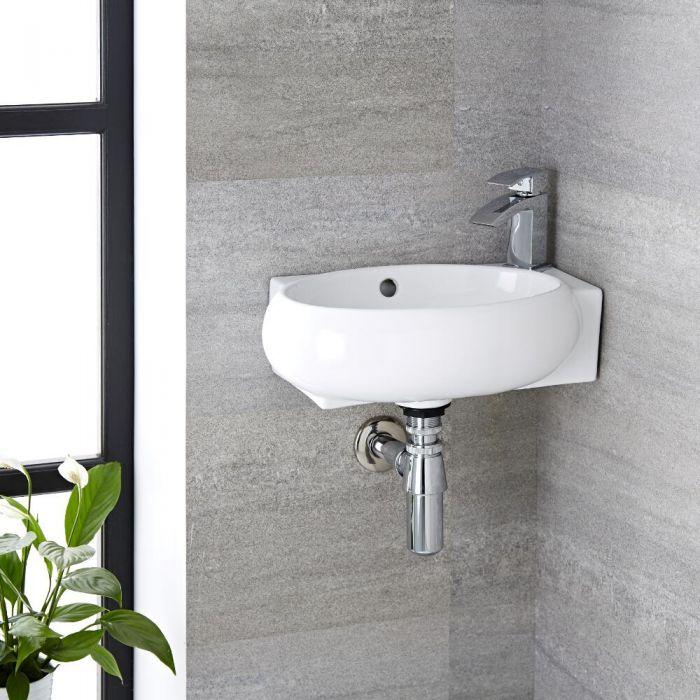 Milano Irwell - White Modern Round Wall Hung Corner Basin with Mono Mixer Tap - 430mm x 280mm