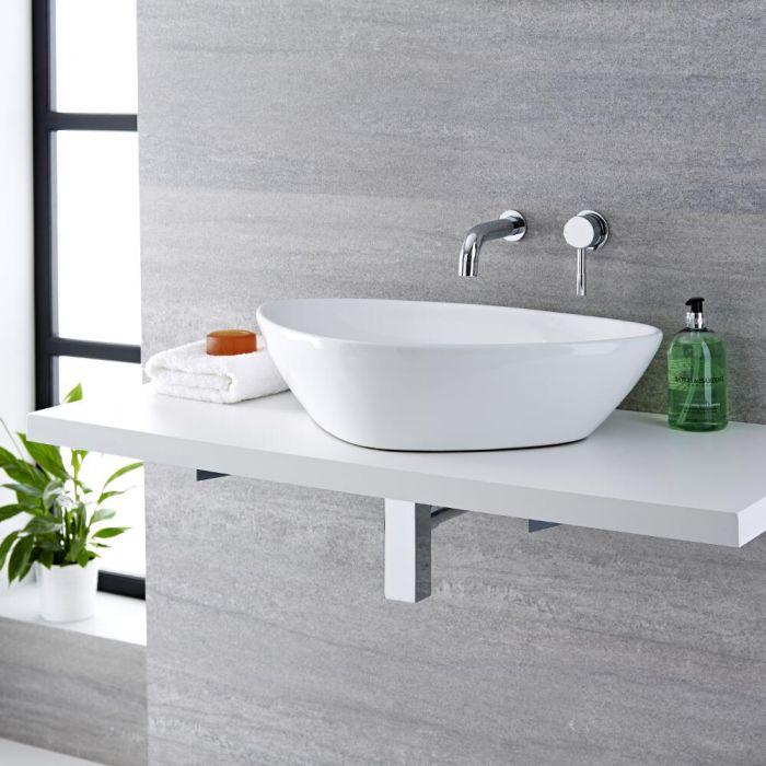 Milano Select - White Modern Countertop Basin with Wall Mounted Mixer Tap - 590mm x 390mm