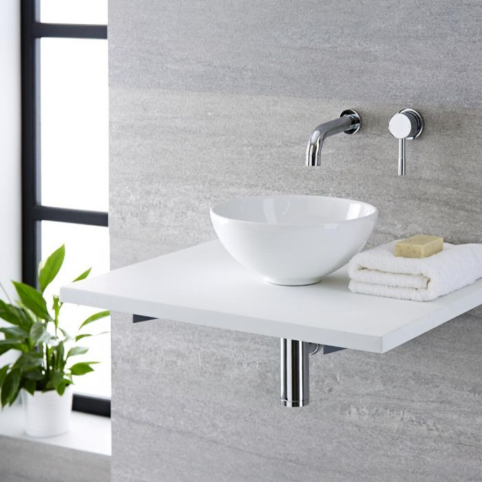 Milano Irwell - White Modern Round Countertop Basin with Wall Mounted Mixer Tap - 280mm x 280mm