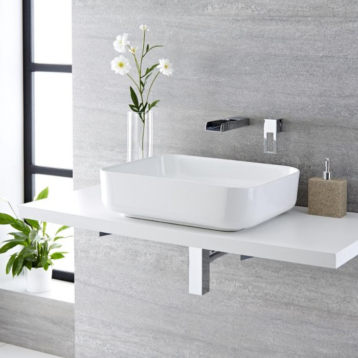 Milano Longton - White Modern Rectangular Countertop Basin with Wall Mounted Mixer Tap - 500mm x 390mm