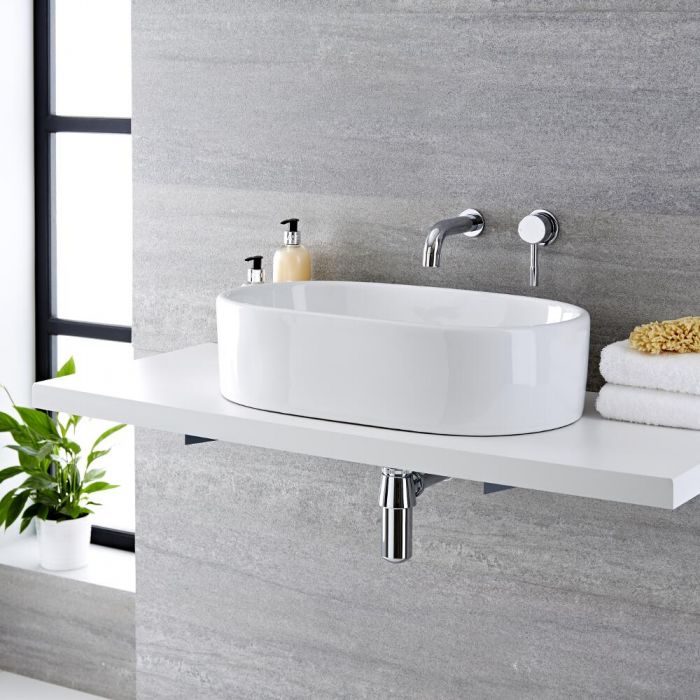 Milano Overton - White Modern Round Countertop Basin with Wall Mounted Mixer Tap - 575mm x 360mm