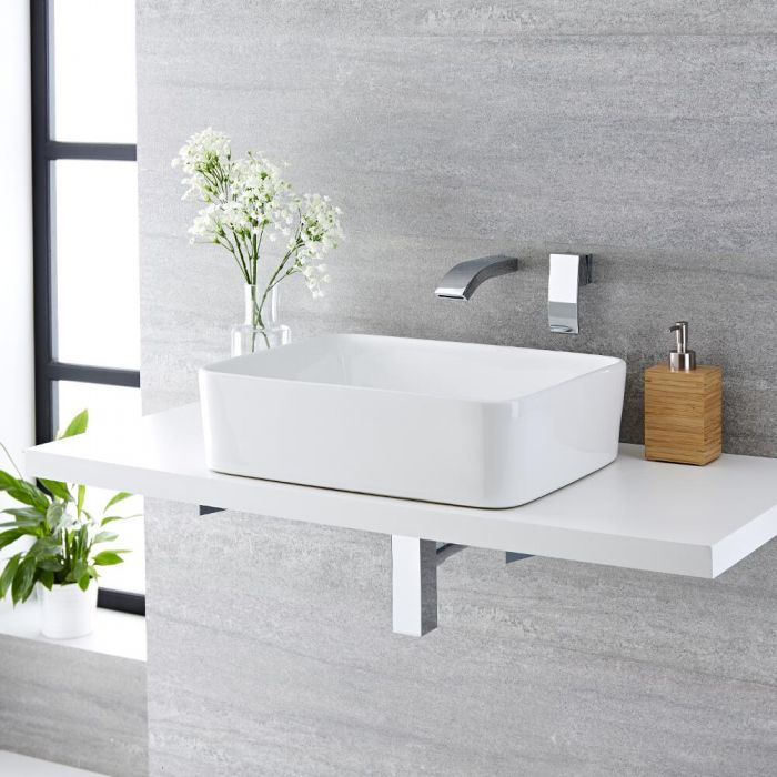 Milano Rivington - White Modern Rectangular Countertop Basin with Wall Mounted Mixer Tap - 480mm x 370mm