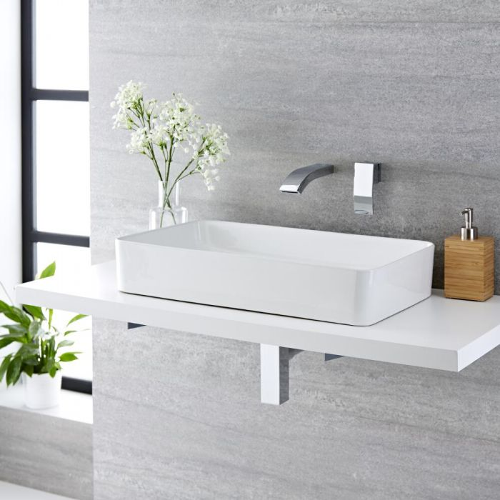 Milano Rivington - White Modern Rectangular Countertop Basin with Wall Mounted Mixer Tap - 610mm x 350mm