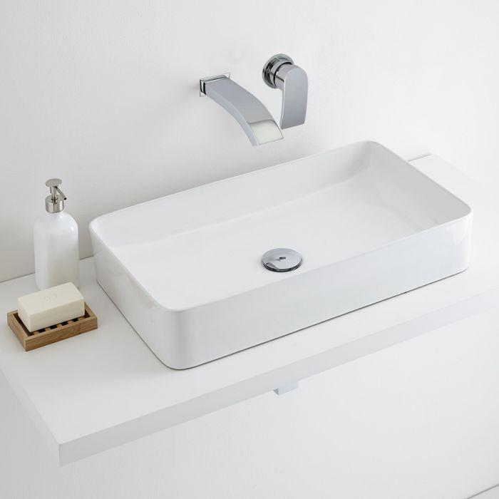 Milano Rivington - White Modern Rectangular Countertop Basin with Wall Mounted Mixer Tap - 610mm x 350mm