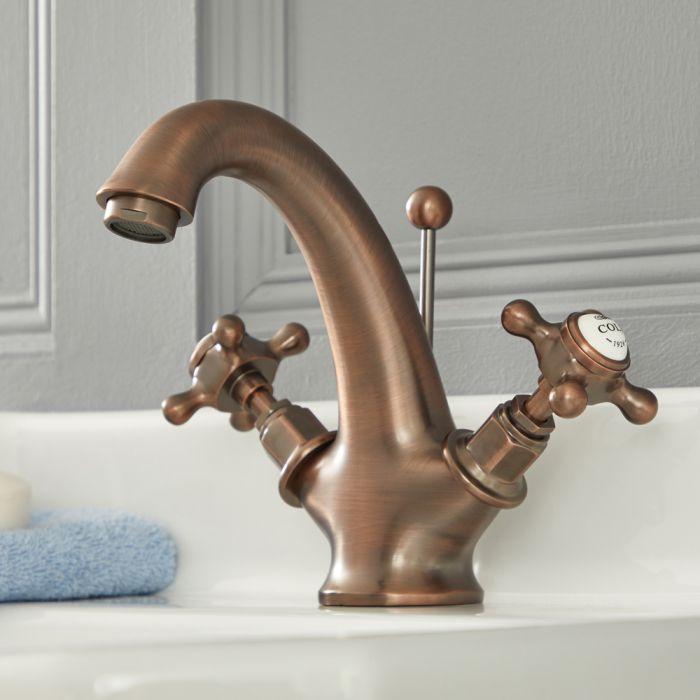 Milano Elizabeth - Traditional Crosshead Mono Basin Mixer Tap - Oil Rubbed Bronze