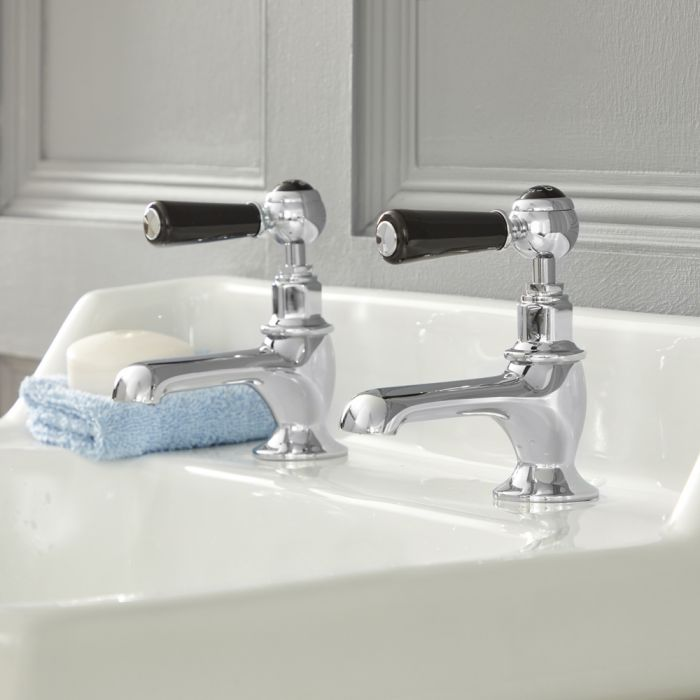Milano Elizabeth - Traditional Lever Basin Pillar Taps - Chrome and Black