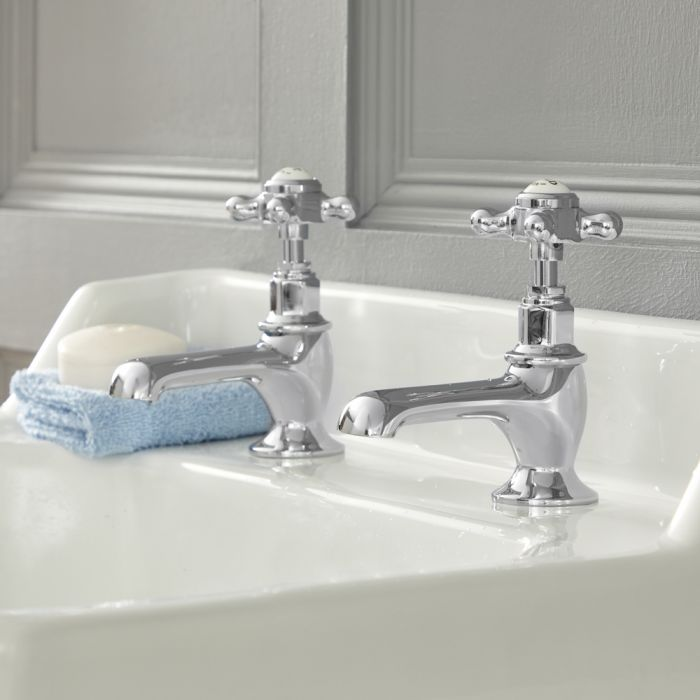 Milano Elizabeth - Traditional Crosshead Basin Pillar Taps - Chrome and White