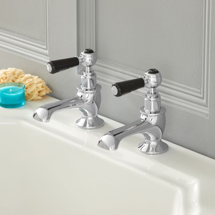 Milano Elizabeth – Traditional Lever Bath Pillar Taps - Chrome and Black