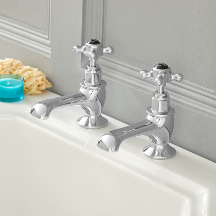 Milano Elizabeth - Traditional Crosshead Bath Pillar Taps - Chrome and Black