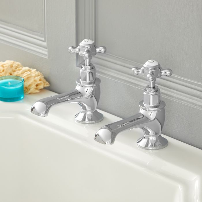 Milano Elizabeth - Traditional Crosshead Bath Pillar Taps - Chrome and White