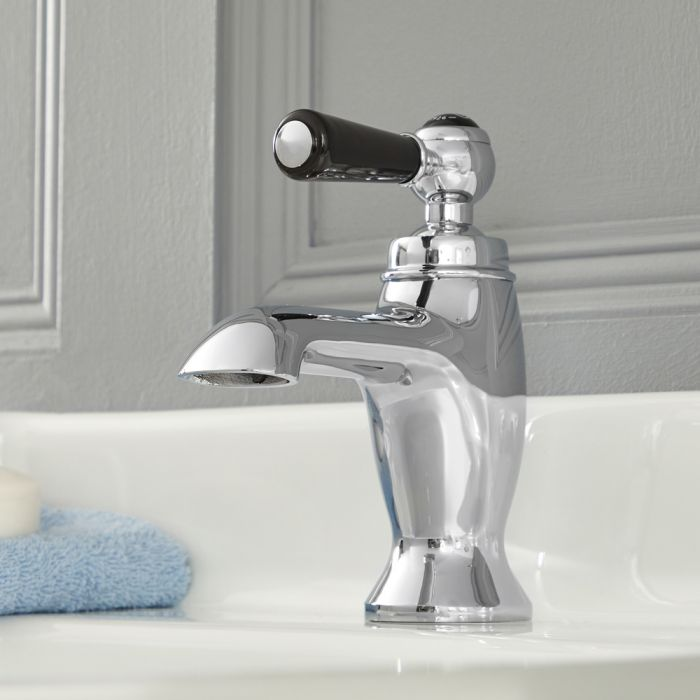 Milano Elizabeth - Traditional Lever Mono Basin Tap - Chrome and Black