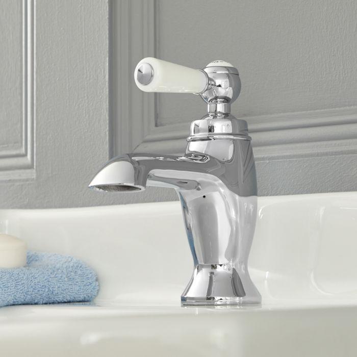 Milano Elizabeth - Traditional Lever Mono Basin Tap - Chrome and White