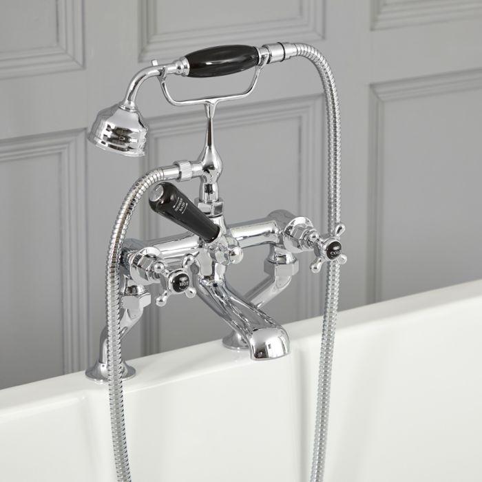 Milano Elizabeth - Traditional Crosshead Bath Shower Mixer Tap - Chrome and Black
