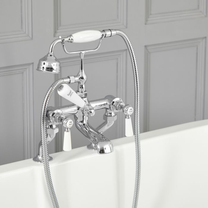 Milano Elizabeth - Traditional Lever Bath Shower Mixer Tap - Chrome and White