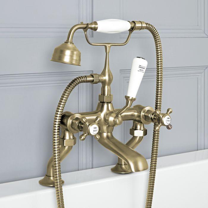 Milano Elizabeth - Traditional Crosshead Bath Shower Mixer Tap - Brushed Gold