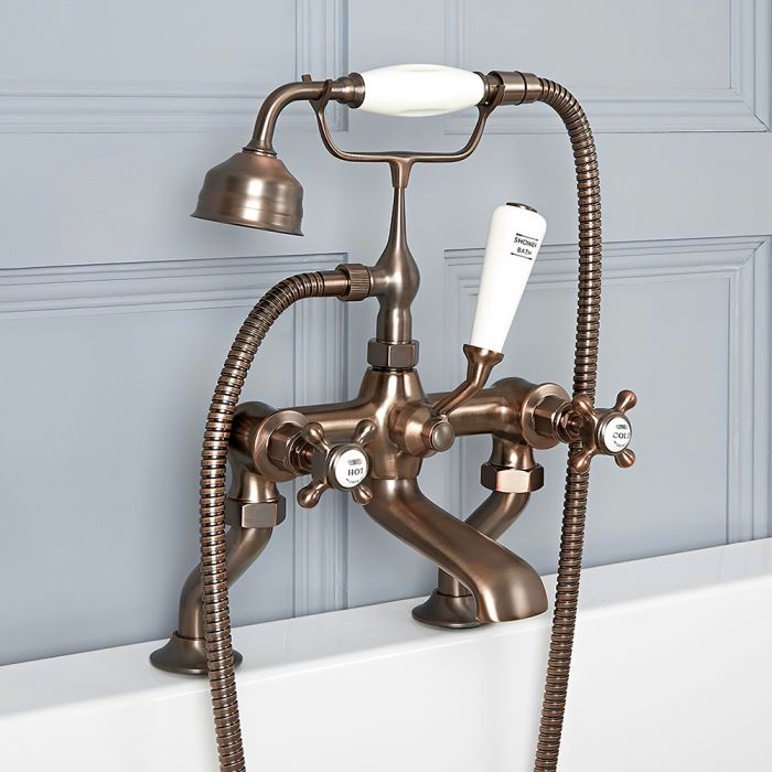 Milano Elizabeth - Traditional Crosshead Bath Shower Mixer Tap - Oil Rubbed Bronze