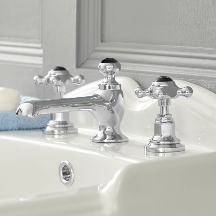 Milano Elizabeth - Traditional 3 Tap-Hole Crosshead Basin Mixer Tap - Chrome and Black