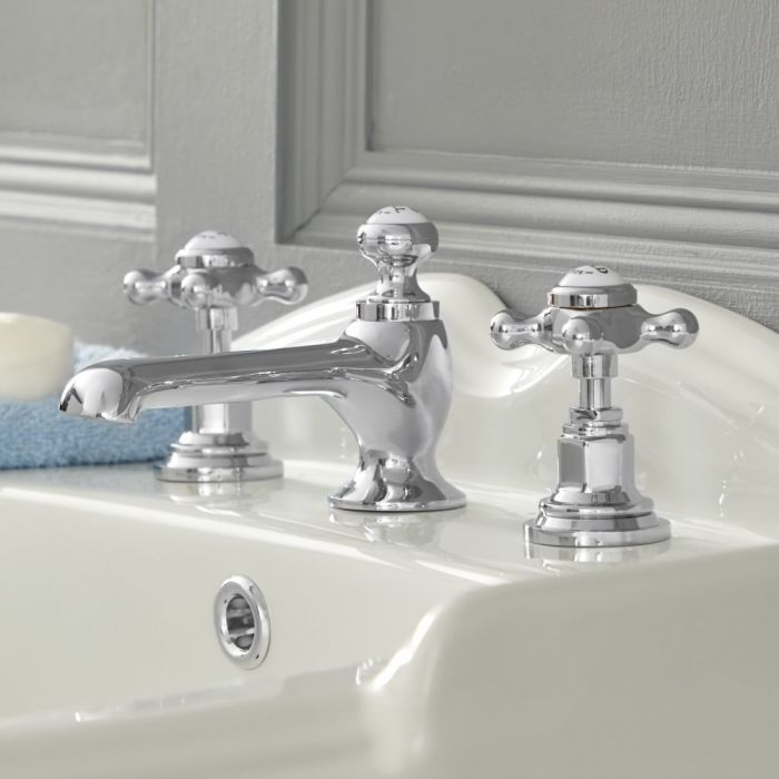 Milano Elizabeth - 3 Tap-Hole Crosshead Basin Mixer Tap - Chrome and White