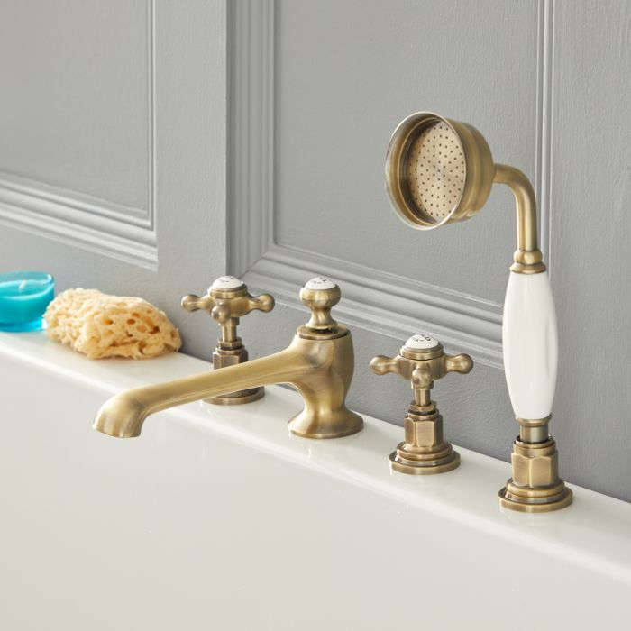Milano Elizabeth - Traditional Crosshead 4 Tap-Hole Bath Shower Mixer Tap - Brushed Gold