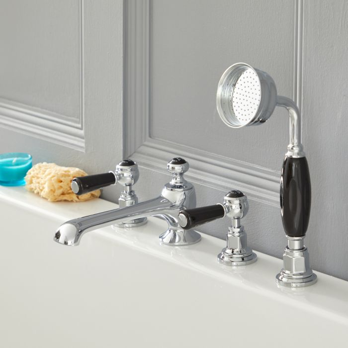 Milano Elizabeth - Traditional 4 Tap-Hole Lever Bath Shower Mixer Tap - Chrome and Black