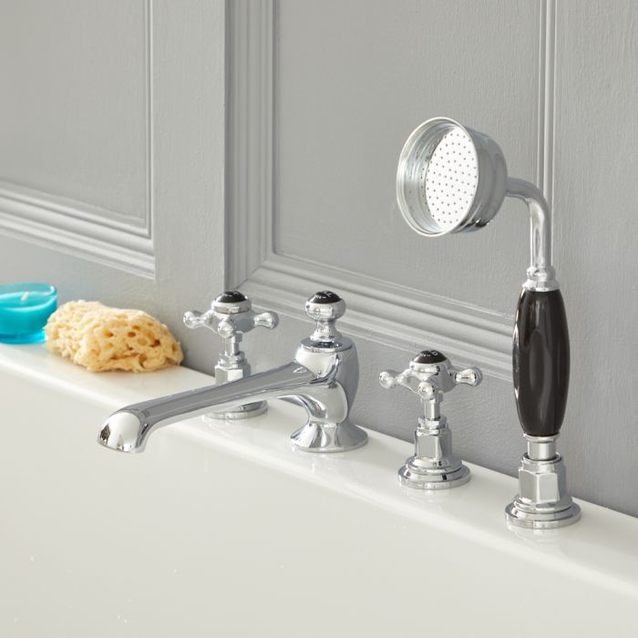 Milano Elizabeth - Traditional 4 Tap-Hole Crosshead Bath Shower Mixer Tap - Chrome and Black