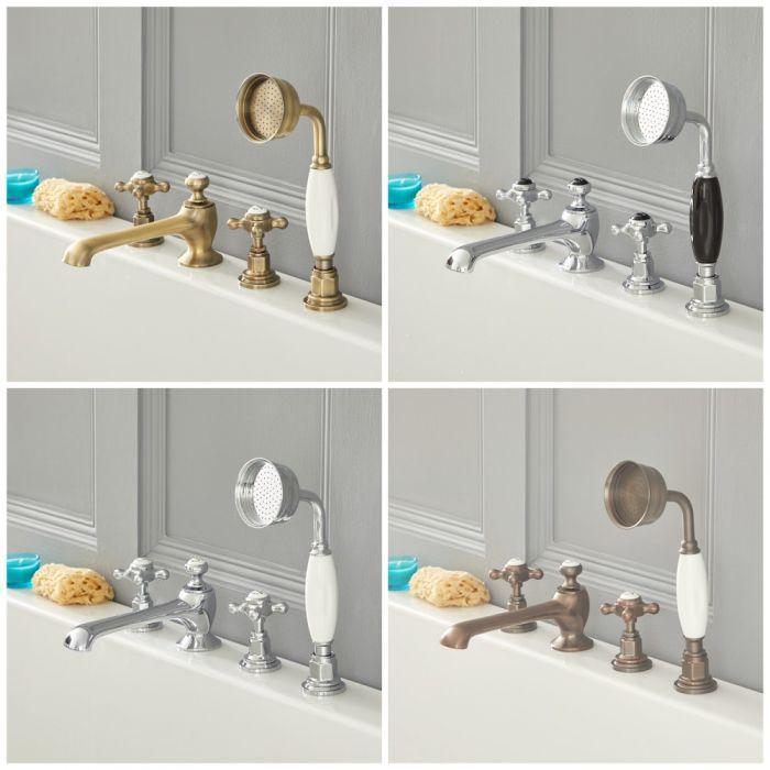 Milano Elizabeth - Traditional Crosshead 4 Tap-Hole Bath Shower Mixer Tap - Choice of Finish