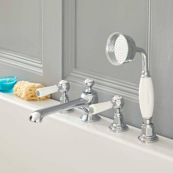 Milano Elizabeth - Traditional 4 Tap-Hole Lever Bath Shower Mixer Tap - Chrome and White