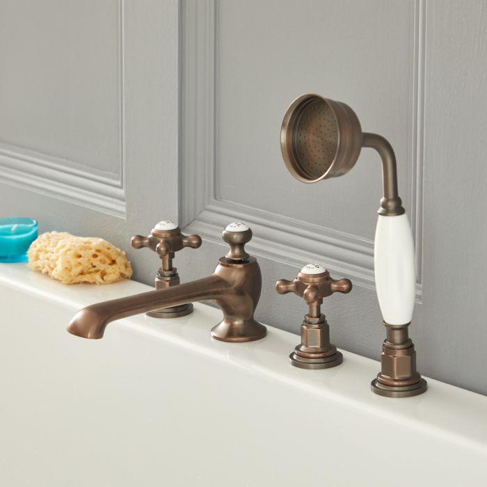 Milano Elizabeth - Traditional 4 Tap-Hole Crosshead Bath Shower Mixer Tap - Oil Rubbed Bronze