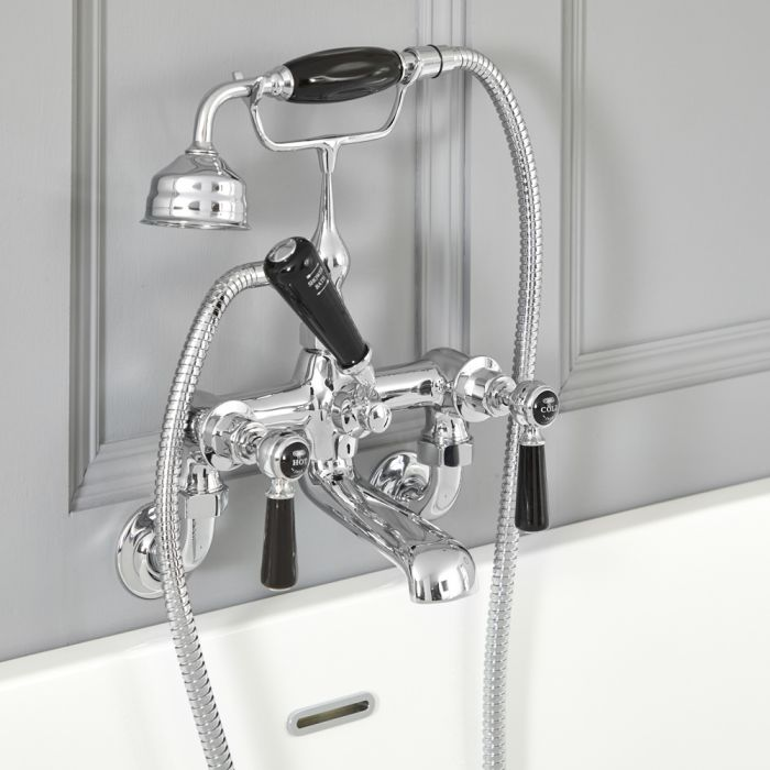 Milano Elizabeth - Traditional Wall Mounted Lever Bath Shower Mixer Tap - Chrome and Black