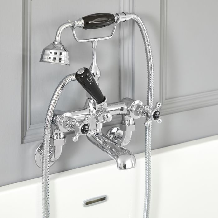 Milano Elizabeth - Traditional Wall Mounted Crosshead Bath Shower Mixer Tap - Chrome and Black