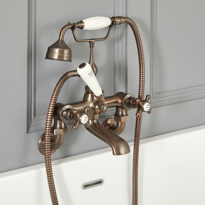 Milano Elizabeth - Traditional Wall Mounted Crosshead Bath Shower Mixer Tap - Oil Rubbed Bronze