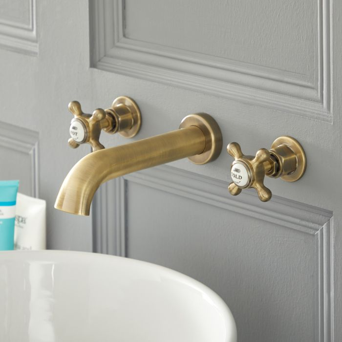 Milano Elizabeth - Traditional Wall Mounted 3 Tap-Hole Crosshead Basin Mixer Tap - Brushed Gold