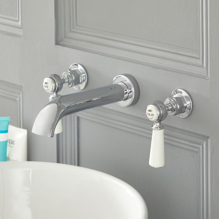 Milano Elizabeth - Traditional Wall Mounted 3 Tap-Hole Lever Basin Mixer Tap - Chrome and White