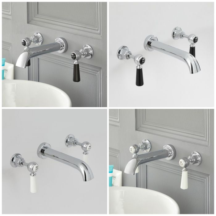 Milano Elizabeth - Traditional Wall Mounted 3 Tap-Hole Lever Head Basin Mixer Tap - Choice of Finish