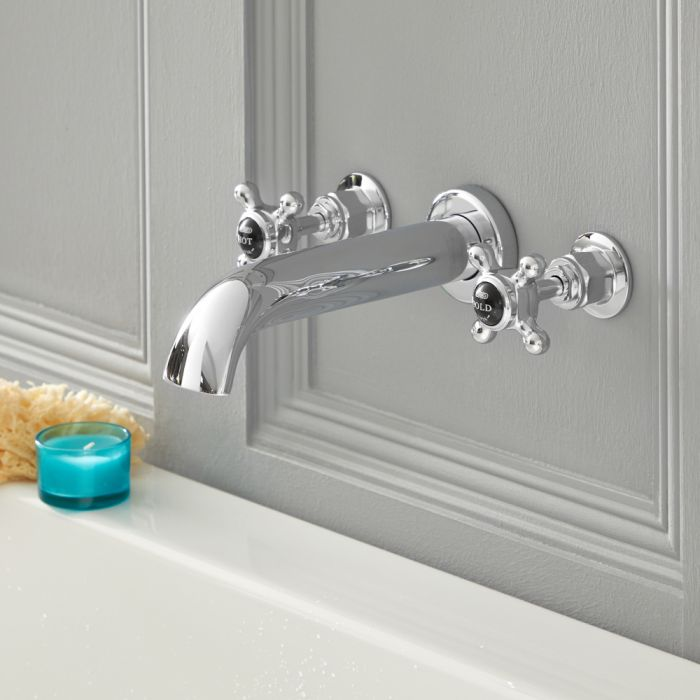 Milano Elizabeth - Traditional Wall Mounted Crosshead 3 Tap-Hole Bath Filler Tap - Chrome and Black