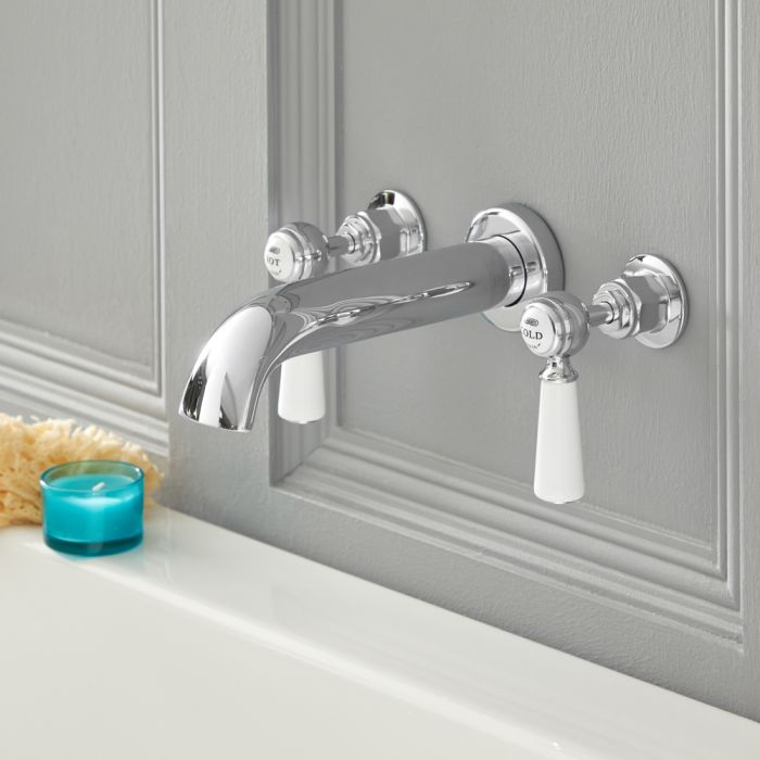Milano Elizabeth - Traditional Wall Mounted 3 Tap-Hole Lever Bath Filler Tap - Chrome and White