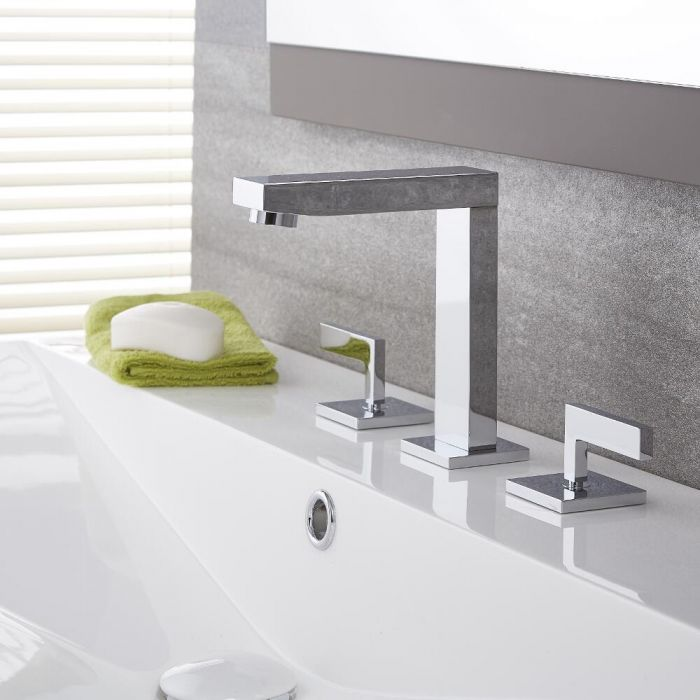 Milano Arvo - Modern 3 Tap-Hole Basin Mixer Tap - Chrome