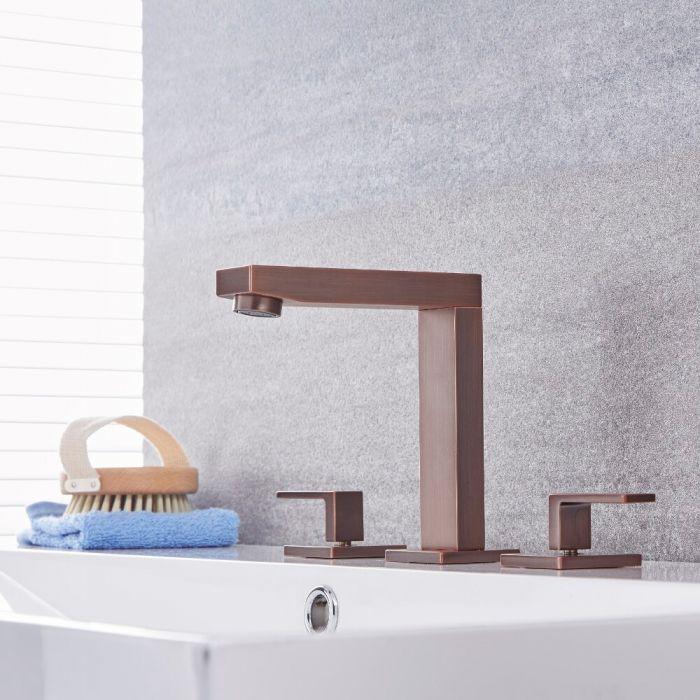 Milano Arvo - Modern 3 Tap-Hole Basin Mixer Tap - Oil Rubbed Bronze